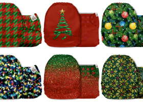 Mama Koala Diapers - red and green diapers with Christmas tree and lights patterns