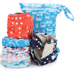 Simple Being Cloth Diapers - boys colors and patterns with blue and white diaper bag