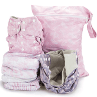 Simple Being Cloth Pocket Diapers - 6 pocket diapers with girls' colours with pink and white diaper bag